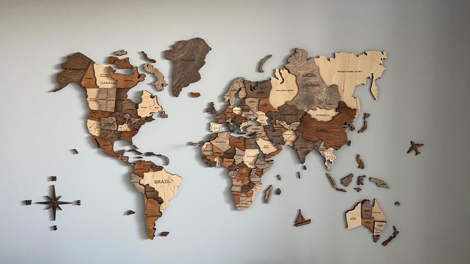 My physical travel world map
